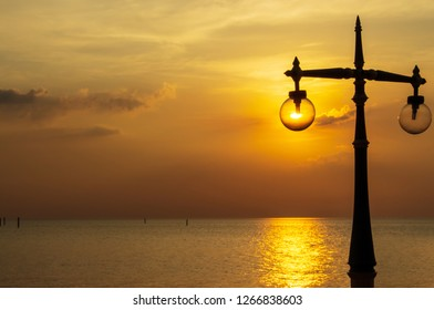 Fake light of the beach lamp is made from the sunlight.