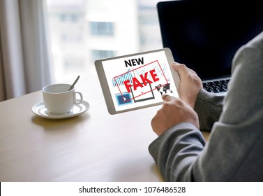 Fake news concept man reading news media technology on smartphone just Fake