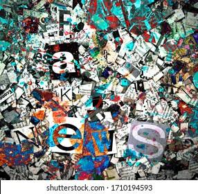 fake news concept with newspaper confetti