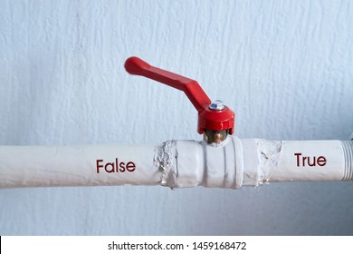 Fake news, disinformation or false information and propaganda concept. The faucet and the words