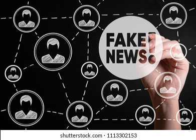 Fake news. HOAX political social network people concept. Fabricated false disinformation technology on TV and newspaper.