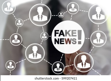 Fake news, HOAX political social network people concept. Fabricated false disinformation technology on TV and newspaper. Man pressing white button distorted tidings on virtual screen.