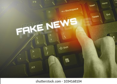 FAKE NEWS, Male hand touch the button