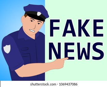 Fake News Police Meaning Fraud 3d Illustration. Hoax Report To Misinform Public Is A Misleading Deception.