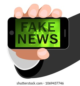Fake News Smartphone Alternate Facts Mobile Phone 3d Illustration. A Misinformation Hoax And Misleading Deception From Dishonest Media.