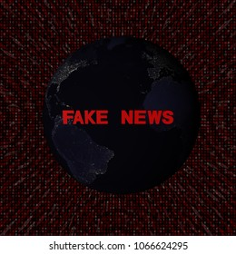Fake News text with earth by night and red hex code 3d illustration - elements of this image furnished by NASA