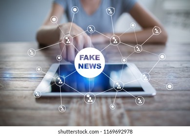 Fake news warning on the virtual screen.