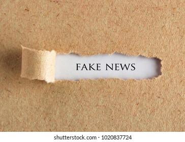 FAKE NEWS word written under torn paper