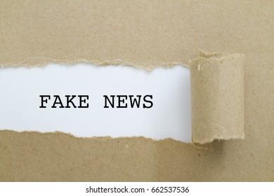 FAKE NEWS word written under torn paper.