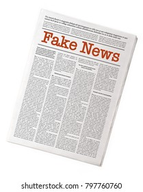 Fake newspaper reporting fake news. Fake Lorem ipsum text, isolated on white