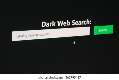 Fake passports - deep web search engine concept for illegal services and products