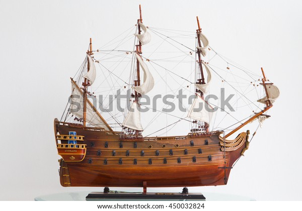 Fake Pirate Ships On Table Stock Photo (Edit Now) 450032824
