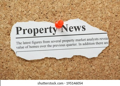 A fake Property News headline torn out and pinned to a cork notice board