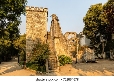 Fake Ruins in the Evora Public Park in Portugal, built in the 1860s using materials from the ruins of several other local monuments, mostly remains of twinned windows in Manueline and Mudejar styles