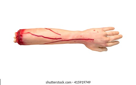 Fake severed human arm with terrible blood isolated on white background. Clipping path inside.