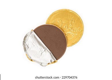 Fake two euro coin of chocolate for Sinterklaas. Event in Holland, Netherlands and Belgium on 5 december.
