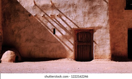 A Fake wall of an old arabic house, made in one of bigger studios in the world, Studio atlas in Ouarzazate-Morocco (or Hollywood of Morocco), for cinematic uses.
