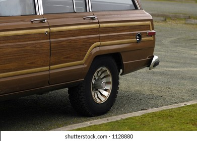 Fake wood panelling on the side of a large seventies family wagon