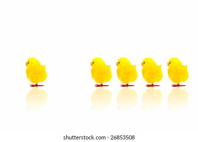 Fake yellow easter chicks marching with a leader few steps ahead.