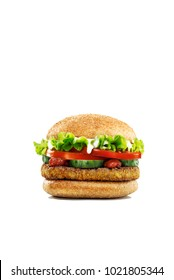 Falafel burger isolated on white background close up shot selective focus
