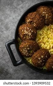 Falafel with hummus and rice