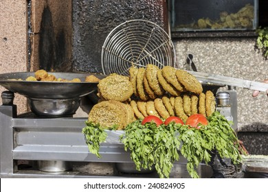 Falafel in metal bowl,Cairo,Egypt,Falafel is a traditional Egyptian food