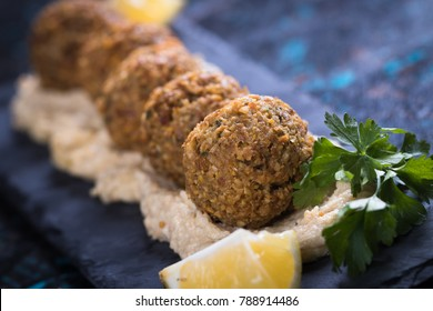 Falafel, middle eastern fried chickepa balls, popular fast food meal