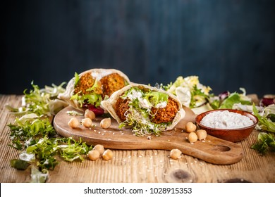 Falafel in pita bread. Tasty street food . Excellent choice for lunch or dinner.
