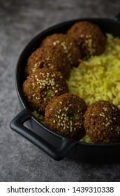 Falafel with rice and humus, vegan diet