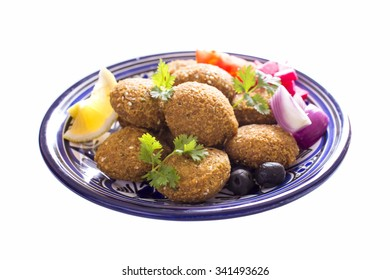 Falafel is a traditional Middle Eastern food made with ground chickpeas, fava beans, or both
