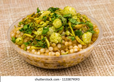 Falahari sabudana khichadi is an Indian dish made from soaked sabudana. It is typically prepared in parts of Western India such as Maharashtra, Karnataka, Madhya Pradesh, Rajasthan and Gujarat.