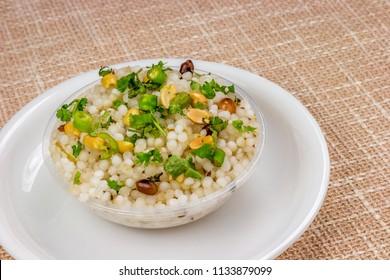 Falahari sabudana khichadi is an Indian dish made from soaked sabudana. It is typically prepared in parts of Western India such as Maharashtra, Karnataka, Madhya Pradesh, Rajasthan and Gujarat.