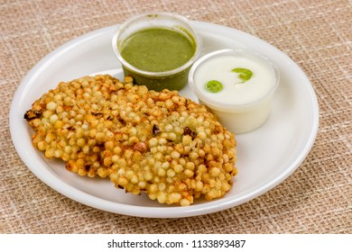 Falahari Sabudana vada, also called 'sago vada', is a traditional deep fried snack from Maharashtra, India. It is often served with spicy green chutney and along with hot chai and is best eaten fresh.