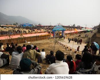 Falam Myanmar on February 20, 2017: people was watching ceremonies