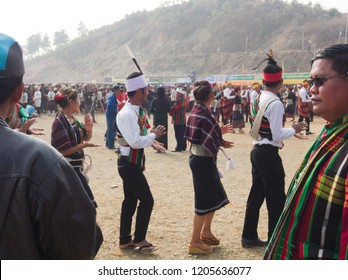 Falam Myanmar on February 20, 2017: People was dancing and wearing traditional dress