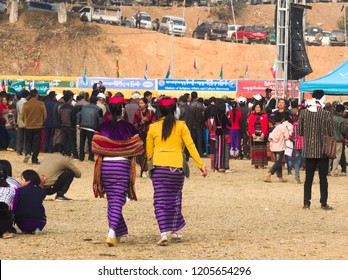 Falam myanmar on February 20, 2017:  ladies with traditional clothes were walking to crowd of people area