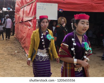 Falam Myanmar on February 20, 2018: beautiful ladies were wearing traditional clothes