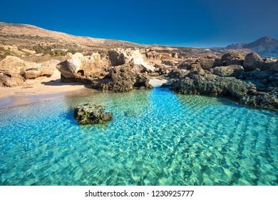 Falassarna beach on Crete island with azure clear water, Greece, Europe.