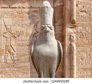 The Falcon God Horus at Edfu Temple, Located on the west bank of the Nile, Edfu, Upper Egypt