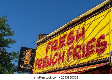 Falcon Heights, Minnesota - August 30, 2021: The Fresh French Fries food vendor at the Minnesota State Fair