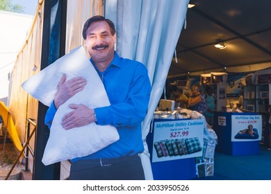 Falcon Heights, Minnesota - August 30, 2021: Cardboard cutout of My Pillow founder Mike Lindell at his booth at the Minnesota State Fair