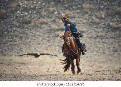 Falconry In Mongolia,Golden Eagle Festival.Artistic Scene With Mongolian Rider-Hunter In Blue Clothes On Brown Horse  And The Flying Golden Eagle. Nomad On Horseback. Scene From  Life Of The Nomadic