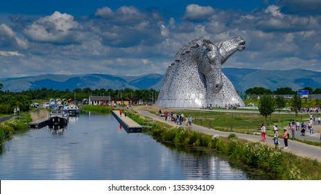 FALKIRK, SCOTLAND - JULY 2 2014: The Kelpies are 30m high horse-head sculptures and act as a monument to horse powered heritage across Scotland. Located in Falkirk, near to Glasgow and Edinburgh
