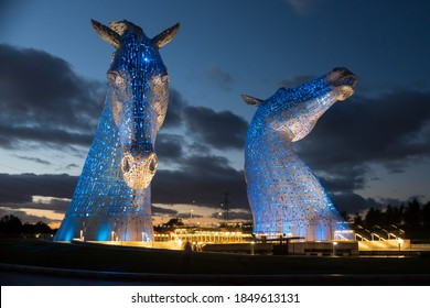 Falkirk, Scotland UK Falkirk, Scotland UK 10.4.21 The Kelpies at night. Beautiful 30 mtr Horse Head Sculptures next to the Forth & Clyde Canal