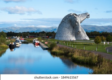 Falkirk, Scotland UK 10.4.21 The Kelpies; Beautiful 30 mtr Horse Head Sculptures next to the Forth & Clyde Canal