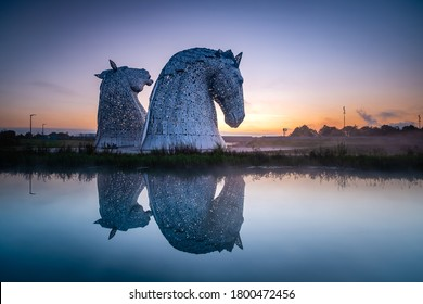 Falkirk / Stirlingshire / Scotland - 08/27/2014: The Kelpies at Dawn, Sculptures by Andy Scott.