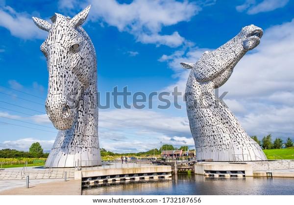 FALKIRK,SCOTLAND - AUGUST 15,2019 : The Kelpies monument at The Helix park near Falkirk in Scotland - Famous scottish landmark