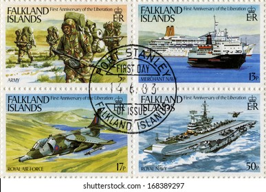 FALKLAND ISLANDS - CIRCA 1983 - Postage Stamps commemorating the first anniversary of the Liberation of the Falkland Islands, circa 1983.