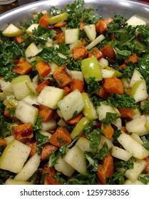 Fall Apple Butternut Kale Saute in Skillet