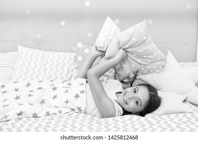 Fall asleep as fast as possible. Fall asleep faster and sleep better. Healthy sleep. Sweet dreams. Girl happy child lay bed pillow and blanket bedroom. Lullaby concept. Ways to fall asleep faster.